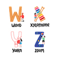 Alphabet letters w to z vector image vector image