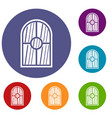 arched window icons set vector image vector image