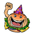birthday fast food burger vector image vector image