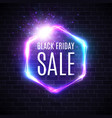 black friday sale design with neon light frame vector image vector image