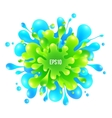Blue and green paint splash on white background vector image vector image
