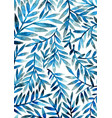 blue fern leaves watercolor background vector image