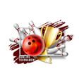 bowling game award bowling ball with and white vector image vector image