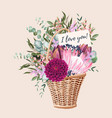card with wedding bouquet in basket vector image vector image