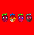 cartoon bright fruit emoji characters vector image vector image
