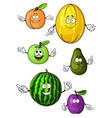 Cartoon isolated fresh fruits characters vector image