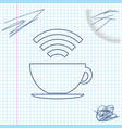 cup coffee shop with free wifi zone line sketch vector image vector image