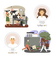 delivery service people cartoon character set vector image