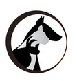 dog cat and bunny silhouettes logo vector image vector image