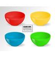 empty realistic food bowls ceramic kitchen vector image