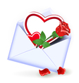 Envelope with valentine hearts vector image vector image