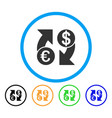 euro dollar exchange arrows rounded icon vector image vector image