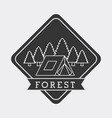 forest camp tent mountain pine tree natural stamp vector image