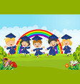 happy little kids graduation celebration on rainbo vector image vector image