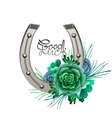 Horseshoes in silver color with succulent design vector image