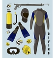 icons set of diving equipment vector image vector image