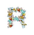 letter r rubbish trash font garbage alphabet vector image vector image