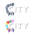 logo with buildings and city abstract background vector image vector image