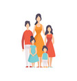 mother of many children with two daughters and vector image