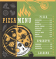 pizza menu document print template with pizza draw vector image