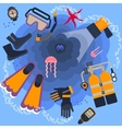poster diving equipment vector image vector image