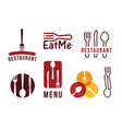 restaurant logo set flat cartoon style vector image