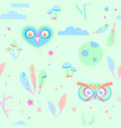 seamless pajama pattern in pastel colors with owls vector image
