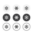 set 3 simple design snowflake icons rounded vector image
