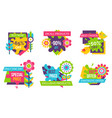 set of colorful labels springtime flowers adverts vector image vector image