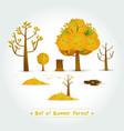 set of green forest trees and bushes vector image vector image