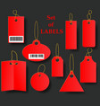 set of red tags with golden rope collection of vector image