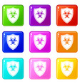 shield with a biohazard sign icons 9 set vector image