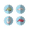 tennis sport set icons vector image