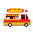 the colorful cute hot dog van flat vector image vector image