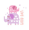 two cute cartoon elephants good day colorful hand vector image