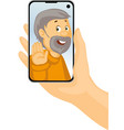 video call with grandpa - phone in hand - stay at vector image