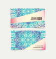 vintage business cards floral mandala vector image vector image