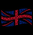waving great britain flag pattern of floral sprout vector image vector image