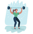 woman with barbell fit girl vector image