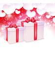 Glowing background with two gift box vector image