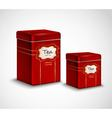 Tea Tins Red Metal Containers Set vector image