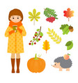 autumn set with girl hedgehog and leaves vector image