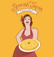 beautiful spanish cook with potato omelette she vector image vector image