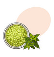 bowl of organic green aromatic bath salt top vector image vector image