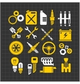 Car part icons set on a dark background vector image vector image