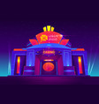 casino night exterior with neon lights vector image vector image