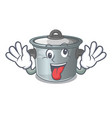 crazy cookware stock pot isolated on mascot vector image vector image