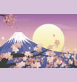 cute cherry blossoms landscape design vector image vector image