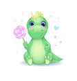 cute little dinosaur with candy vector image vector image