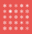 cute snowflakes collection isolated on red vector image vector image